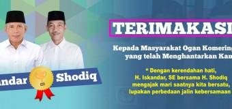 Ucapan Terima Kasih Pasangan Iskandar-Shodiq